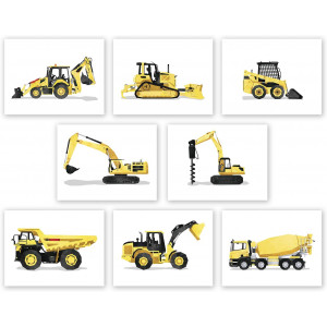 AtoZStudio Construction Wall Art - Set of 8 Prints // Boys Trucks Posters // Toddler Boy Room Decor // Truck Nursery // Party Decoration (8x10, Set 8)