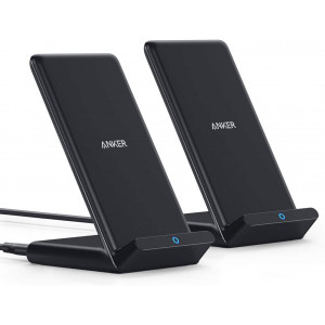 Anker Wireless Charger, 2 Pack PowerWave Stand, Qi-Certified, 7.5W for iPhone 11, 11 Pro, 11 Pro Max, Xs Max, XR, XS, X, 8, 8Plus, 10W for Galaxy S20 S10 S9 S8, Note 10 Note 9 Note 8 (No AC Adapter)