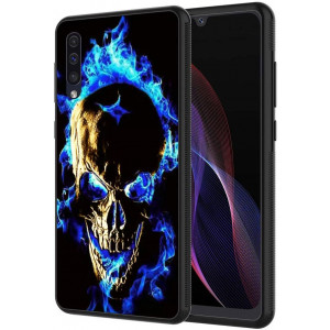 Galaxy A10E Case,Vobber Slim Anti-Scratch Architecture TPU Shockproof Protective Case Cover for Samsung Galaxy A10E,Blue Fire Skull