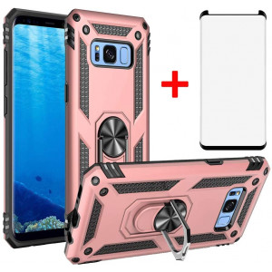 Phone Case for Samsung Galaxy Note 8 Cases with Tempered Glass Screen Protector Ring Holder Stand Glaxay Note8 N950 SM-N950F Shockproof Back Cover Pink Rose Gold