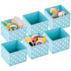 mDesign Soft Fabric Polka Dot Dresser Drawer and Closet Storage Organizer, Bin for Child/Kids Room, Nursery, Playroom, Bedroom, 6 Pack - Turquoise Blue/White