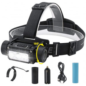 Boruit Multi-functional 6 modes 1000 lumens 3 LED headlamp, IPX4 water resistant 4000mah capacity,Tape-C Usb rechargable great for you working,Camping and Hiking Gear