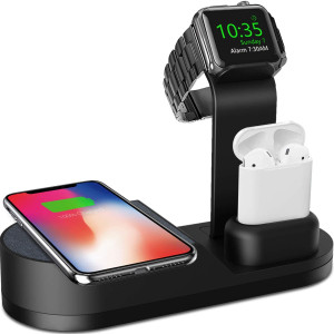 Deszon Wireless Charger Designed for Apple Watch Stand Compatible with Apple Watch Series 5 4 3 2 1, AirPods Pro Airpods and iPhone SE 11 11 pro 11 Pro Max Xs X Max XR X 8 8Plus (No Adapter) Black