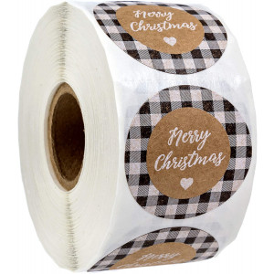 "Black and White Buffalo Plaid Merry Christmas Stickers / 500 1.5"" Christmas Tags"