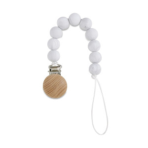 Babe Basics Pacifier Clip | Handmade Natural Wood Dummy Chain Teething Toy (Marble Round)