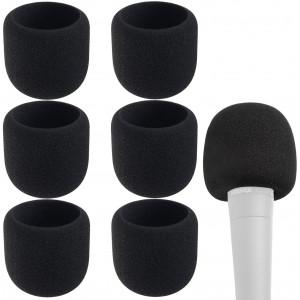 Microphone Covers Foam - Black Sponge Foam Microphone Windscreen Cover, for most Microphone, 6pcs