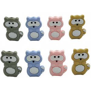 Silicone Raccoon Beaded BPA Free Baby Teething Beads Flower Shape Teethers Mom Infant Care Necklace Making (Mix Color 8pcs)