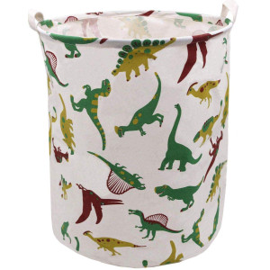 Dinosaur Laundry Hamper, Munzong Extra Large Canvas Toy Storage Bins, Collapsible Round Clothes Laundry Hamper, Baby Boys Toy Storage Bins, Gift Baskets for Kids Bedroom Nursery(Multicolor Dinosaur)