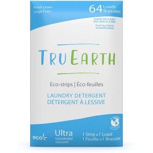 Tru Earth Eco-Strips Laundry Detergent (Fresh Linen Scent, 64 Loads) - Eco-Friendly Ultra Concentrated Compostable and Biodegradable Plastic-Free Laundry Detergent Sheets