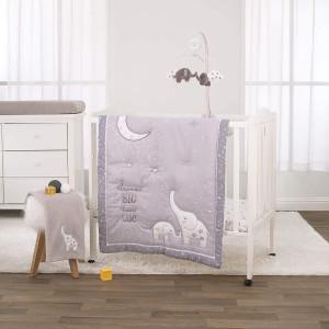 NoJo 3 Piece Mini Crib Bedding Set, Dream Big Little Elephant, Grey/White/Gold