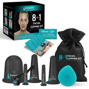 Facial Cupping Set, 8-in-1 Kit, 5 Facial and Body Massage Cups, Derma Roller  0.25mm, Cleansing Brush and Travel Bag