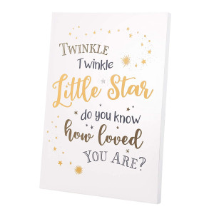 Lillian Rose Twinkle Little Star Canvas Baby Nursery Sign, White