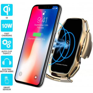 Wireless car Charger,EERIE A5 Smart Sensor Wireless Car Charger Mount,QI 10W Automatic Clamping Fast Charging Holder Compatible with iPhone 11/Xs/Xs Max/XR/X/8/8 Plus,Samsung Note 9/S9/S9+/S8(Gold)
