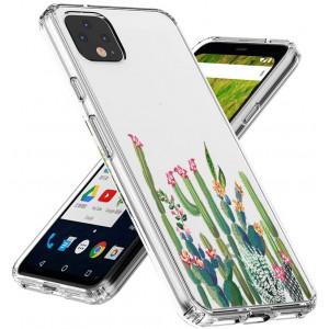 Topnow Google Pixel 4 XL Case, Clear Design Plastic Hard Back with TPU Bumper Protective Cover - Cactus Plexus
