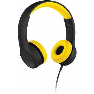 New! LilGadgets Connect+ Style Kids Premium Volume Limited Wired Headphones with SharePort and Inline Microphone (Children, Toddlers) - Black/Yellow