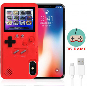 LucBuy Gameboy Case for iPhone, Retro Protective Cover Self-Powered Case with 36 Small Game,Full Color Display,Shockproof Video Game Case for iPhoneX/Xs/MAX/Xr/6/7/8Plus/11 (Red, iPhone 11)