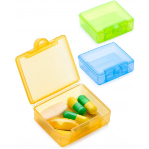 BUG HULL Small Pill Organizer 3 Pack, Once a Day Pill Box for Travel, Cute Pill Case, Daily Mini Medicine Organizer for Vitamins, Fish Oils or Supplement