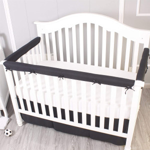 Belsden Pack of 3 Crib Rail Cover Set Including 1 Long and 2 Side Rails, Durable Crib Rail Baby Teething Guard, Reversible Design, Measuring up to 8 inches Around, Black and White Color