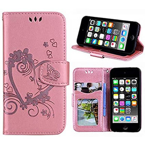 Wallet Case for iPod Touch 6/ iPod Touch 5 PU Leather Case with Multi Credit ID Card Holders Pockets Folio Magnetic Closure Cover, Heart Rose Gold