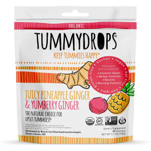 USDA Organic Tropical Ginger Tummydrops Variety Pack (Resealable Bag with 33 Individually Wrapped Drops, Mix of Pineapple and Yumberry)
