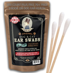 MISTER BEN'S Original Big Bamboo Buds - Premium Cotton Ear Buds Swabs for Dogs and Cats (Large 200 Count) with Long 6 inch Bamboo Handle - Soft and Absorbent for Ear Cleaning