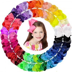 Oaoleer 30 Colors 6 Inch Hair Bows Clips Grosgrain Ribbon Bows Hair Alligator Clips Hair Barrettes Hair Accessories for Girls Toddler Infants Kids Teens Children (6 Inch/30pcs)