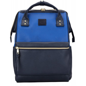 KahandKee Leather Backpack Diaper Bag with Laptop Compartment Travel School for Women Man (Blue/Navy, Large)