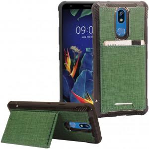 for LG K40, Harmony 3, Xpression Plus 2 (2019) LM-X420, LG Solo LTE L423DL - Denim Hybrid Credit Card Pocket Slot/Stand Phone Case - EC5 Green