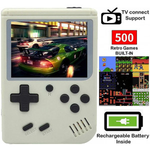 MJKJ Handheld Game Console , Retro FC Game Console 3 Inch Screen 500 Classic Games TV Output Game Player with 1PCS Joystick , Birthday Present for Children - White