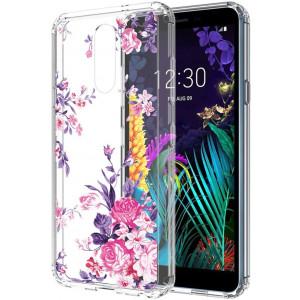 LG Aristo 4 Plus case,LG Neon Plus/Prime2/Tribute Royal/Escape Plus/Arena 2/Journey LTE case,PUSHIMEI Crystal Transparent Clear With Floral Flower Phone Case Cover for LG Aristo 4+ plus(Peony flower)