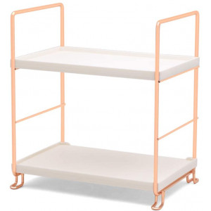 kaileyouxiangongsi Plastic/Metal Freestanding Stackable Organizer Shelf,Bathroom Countertop Storage Shelf Cosmetic Organizer Holder Kitchen Spice Rack,2-Tier Standing Rack (Rose Gold)