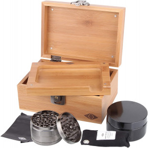 Premium Stash Box Kit with Lock  and Bamboo Wood Rolling Tray Combo, 100 mL Airtight UV Smell Proof Jar, Premium Grinder with Magnetic Lid, Charcoal Bag, 2 Discreet Odorless Resealable Bags