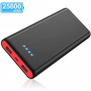 Portable Charger Power Bank 25800mAh [Newest Black-Red Fashion Design] High Capacity External Battery Pack with LED Status Indicator, 2 USB Ports Power Bank for Smart Phones,Tablet and More