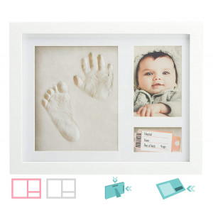 """Baby Handprint and Footprint Kit - with Extra""""Slot"""" for Wrist Tag and Small Keepsake, 2nd Wall Mount Bracket, Mess-Free Clay, Best for Baby Shower and Registry Gifts, Safe for Newborn Babies"""