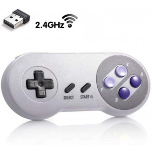 MODESLAB 2.4GHz Wireless Controller for SNES Rechargeable SNES Classic Edition Wireless Gamepad with Retro USB Receiver for Windows PC MAC Linux Genesis Raspberry Pi Retropie(Multicolored(139A))