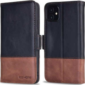 KEZiHOME iPhone 11 Wallet Case, iPhone 11 Flip Case, [RFID Blocking] Genuine Leather Folio Case Cover with Credit Card Holder Stand Function Magnetic Closure for iPhone 11 6.1 inch (Black/Brown)
