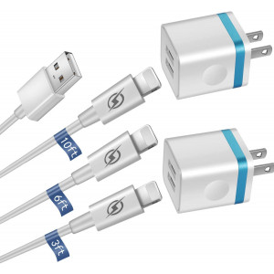 GLUGRU [5-Pack] Phone Charger, (10FT+6FT+3FT) Extra Long Fast Charging and Sync Cable with 2 X Dual Port USB Wall Charger Plug Adapter Compatible with iPhone 11 Xs Max XR X 8 7 6S 6 Plus SE2 5S Pad