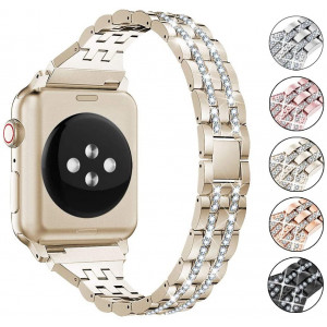 Supoix Compatible with Apple Watch Band 42mm 44mm 38mm 40mm, Women Jewelry Bling Diamond Rhinestone Replacement Metal Wristband Strap for iWatch Series 5/4/3/2/1(Champagne Gold)