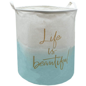 Large Canvas Laundry Hamper 19.7x15.7 Inch, Collapsible Storage Bin, ZUEXT Waterproof Linen Laundry Basket with Handles for Baby Nursery Bedroom College Dorms Baby Shower Gift(Teal Life Beachy Deor)