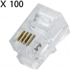 100 Pack RJ9 4P4C 4P2C Plug, Uvital Standard Telephone Handset Modular Plugs Male Connectors Transparent Color Jack Crimp End Crimper