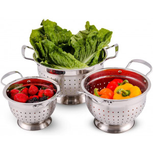 Ovente Stainless Steel Deep Colander 3 Piece Kitchen Strainer Set, Dishwasher Safe 1.5, 3, and 5 Quart Bowl Drainer with Handle and Large Stable Base for Flour Sifter, Pasta, Vegetable, Silver C46263S