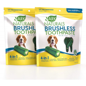 ARK NATURALS Brushless Toothpaste, Dog Dental Chews for Small Breeds, Vet Recommended for Plaque, Bacteria and Tartar Control, 2 Pack