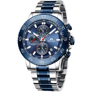 MEGALITH Mens Chronograph Watches Stainless Steel Man Waterproof Watch Luminous Gent Wristwatches for Men Fashion Business Classic Analog Quartz Date Watches