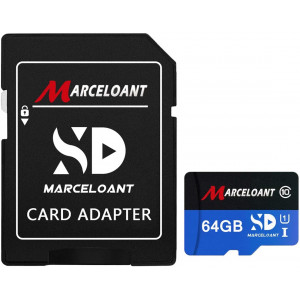 TF Card 64GB, Marceloant Memory Cards Class 10 TF Card with Adapter, High Speed Memory Card for Phone Camera Computer, Black/Blue, Standard Packaging