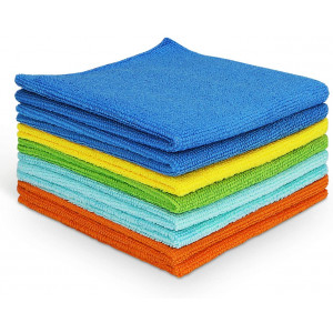 AIDEA Microfiber Cleaning Cloths Softer, More Absorbent, Lint-Free, Wash Cloth for Home, Kitchen, Car, Window (12in.x 12in.)8PK