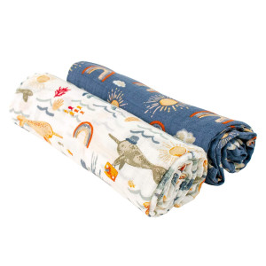 Bebe au Lait Classic Muslin Swaddle Blankets - Narwhal and Hello Sunshine