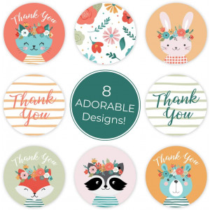 Boho Animals Thank You Stickers - 1.5 Inch Circle Labels / 500 per Pack/Baby Shower Thank You Stickers