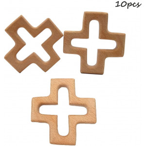 Alenybeby 10pcs Infant Baby Teething Toys Handmade Beech Wooden Cross Shape Teether DIY Crafts Pendant Chewable Accessories (10 pcs)