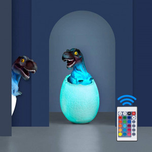 Dinosaur Night Light for Kids,3D Dinosaur Toys Night Light T-Rex Lamp with Stand Remote and Pat and Touch Control Rechargeable 16 Color Birthday Gifts for Boys Girls and Living Bed Room
