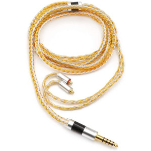 Linsoul Tripowin Zonie 16 Core Silver Plated Cable SPC Earphone Cable for TIN Audio T2 T3 UE900s SE215 SE425 BGVP Earphones (MMCX-4.4mm, Gold)